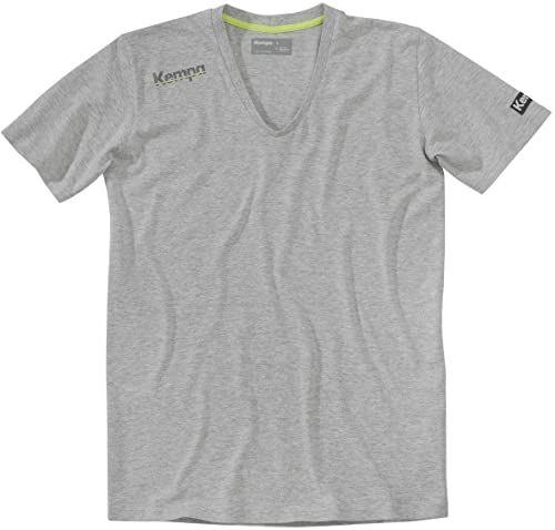 Kempa T-shirt Core kołnierzyk V, szary melanż, M
