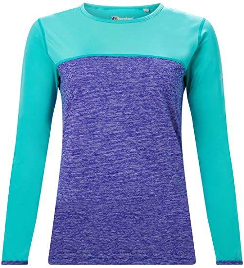 Berghaus Damska koszulka z długim rękawem Voyager Tech Tee Base Layer Pokrycie niebiesko-ceramiczne 14