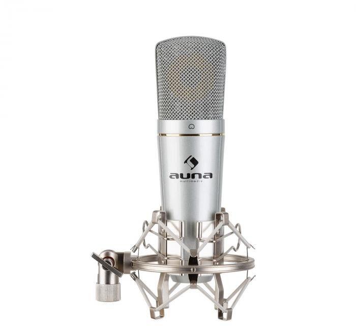 Auna Pro MIC-920 USB, mikrofon pojemnościowy, USB, wyjście słuchawkowe, plug & play, srebrny