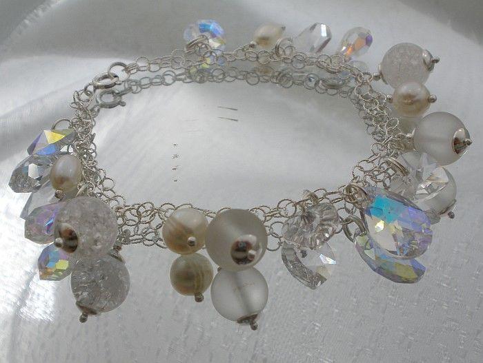 Swarovski Bransoletka Kryształ Perły Srebro