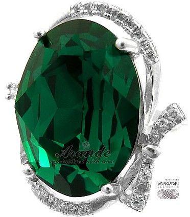 Swarovski Special Piękny Pierścionek Emerald Srebro