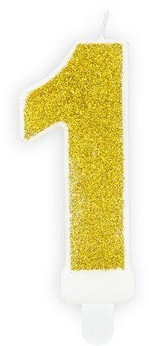 Świeczka cyferka 1 złota brokat 7cm SCU3-1-019B