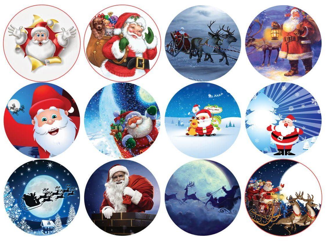 Opłatki na muffiny babeczki Świąteczne Mikołaje