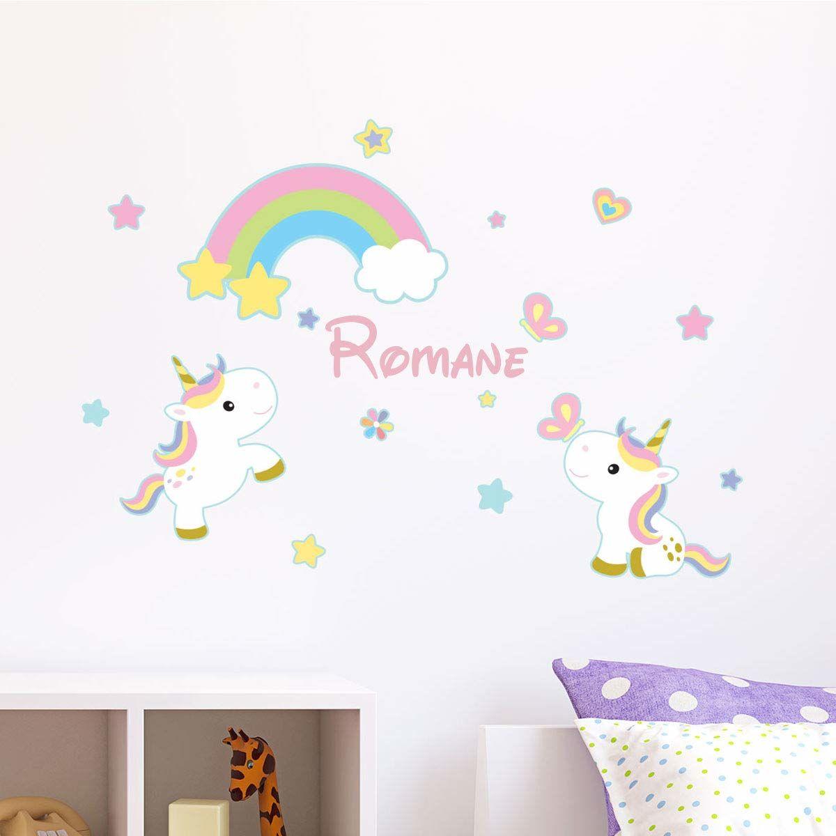 Spersonalizowana naklejka z imieniem, samoprzylepna, możliwość personalizacji, dekoracja ścienna do pokoju dziecięcego, 2 arkusze o wymiarach 25 x 25 cm i 40 x 25 cm, wielokolorowa