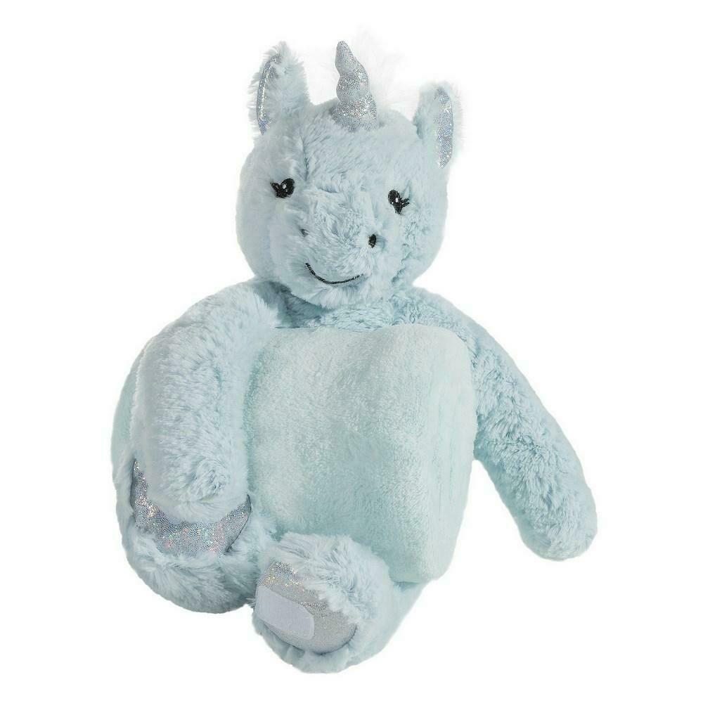 Kocyk dziecięcy 75x100 Toy 5 niebieski pluszak zabawka jednorożec Eurofirany