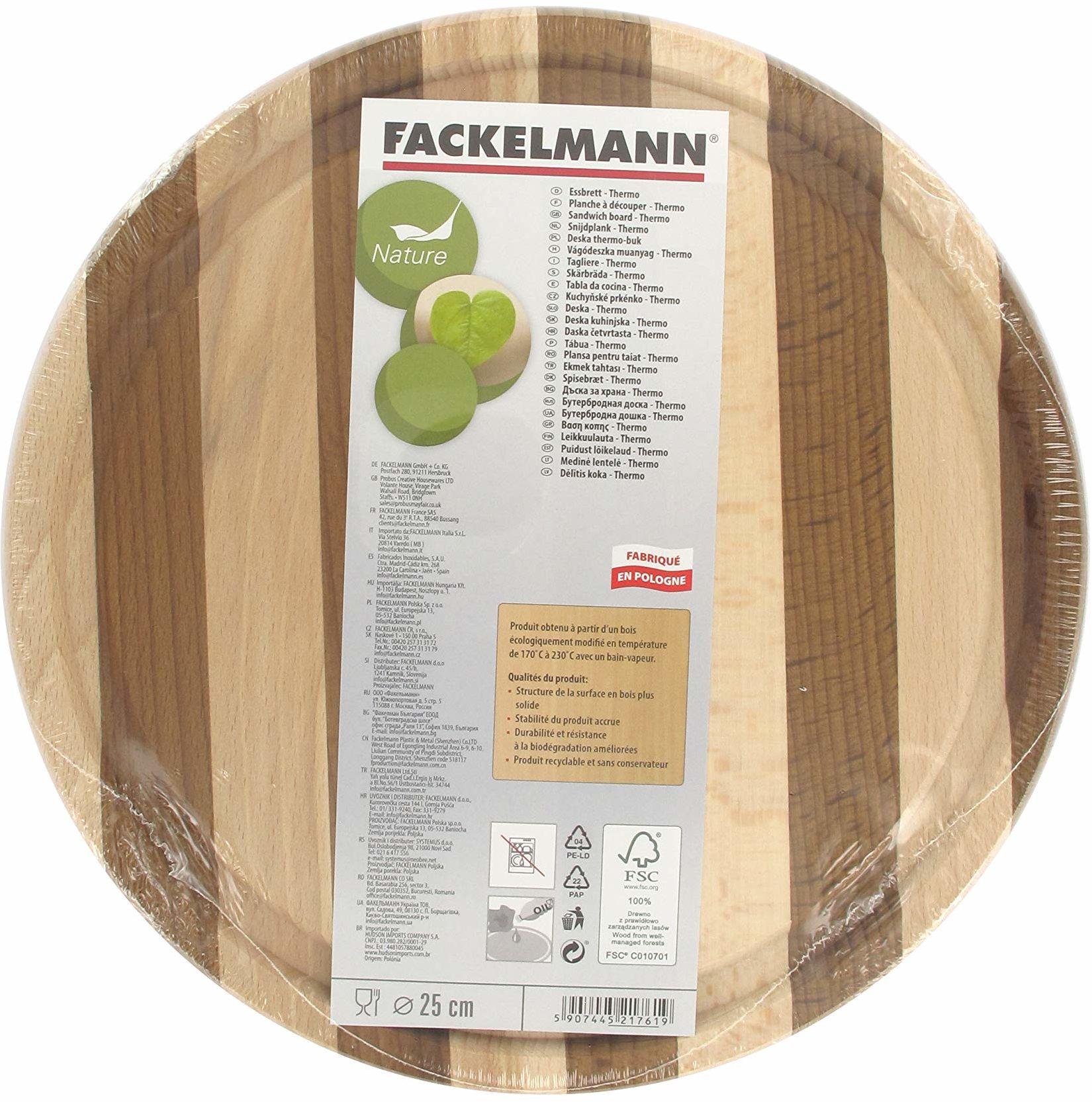 Fackelmann 521761 deska do krojenia okrągła buk, drewno, brązowa, 25 x 25 x 1 cm