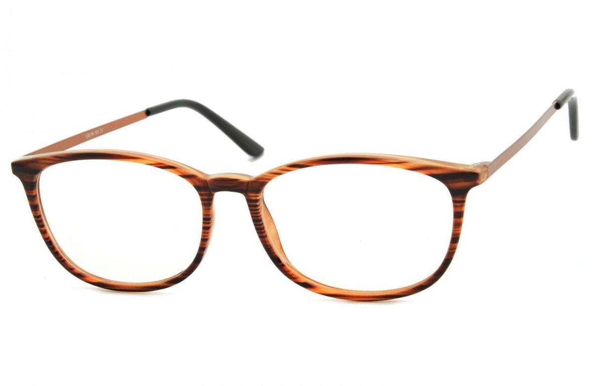 Okulary oprawki korekcyjne Nerdy zerówki Sunoptic CP143G brązowe-imitacja drewna