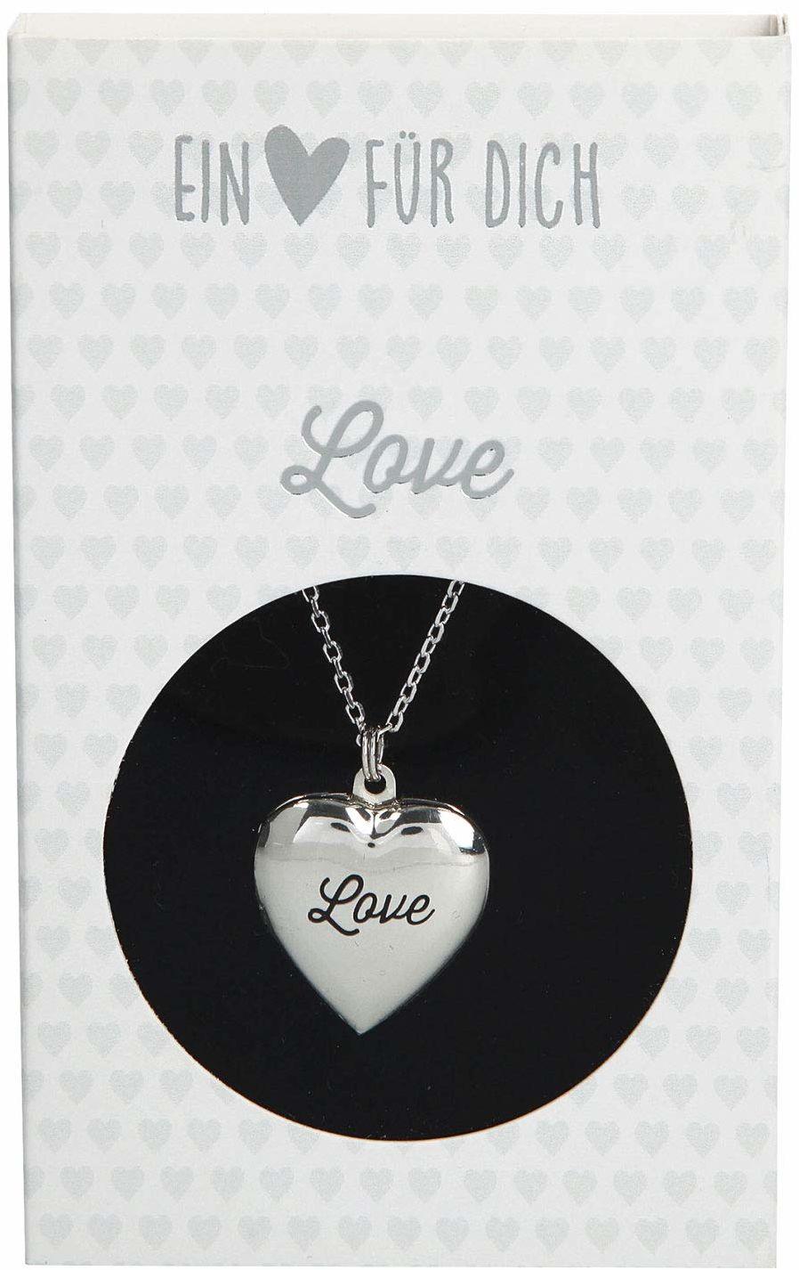 Depesche 10801.002 naszyjnik z zawieszką w kształcie serca, medalion, posrebrzany i nie zawiera niklu, z napisem Love, długość 40-46 cm, srebrny