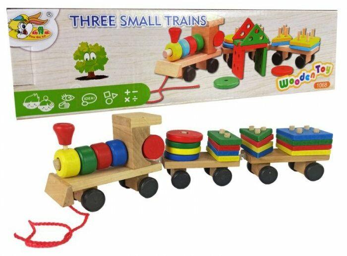 Drewniany Pociąg Lokomotywa 2 Wagony Odpinane