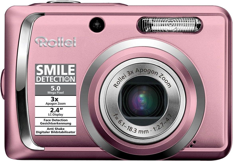 Rollei Compactline 55 aparat cyfrowy (5 megapikseli, 3-krotny zoom optyczny, wyświetlacz 6,1 cm (2,4 cala) różowy
