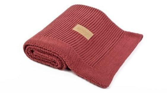 Poofi kocyk tkany z bawełny organicznej - bordowy
