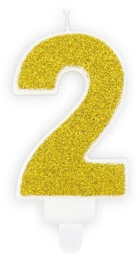 Świeczka cyferka 2 złota brokat 7cm SCU3-2-019B