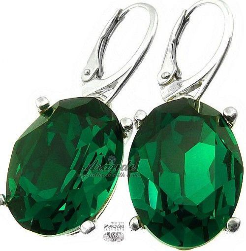 Nowe Swarovski Przepiękne Kolczyki Emerald Srebro