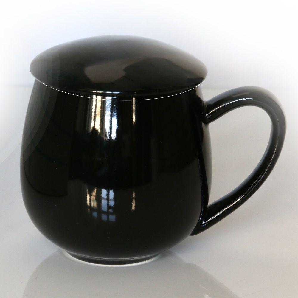 Kubek z zaparzaczem i pokrywką czarny  idealny zestaw do przygotowania herbaty, perfekcyjny podarunek prezent dla mamy, taty, babci, dziadka