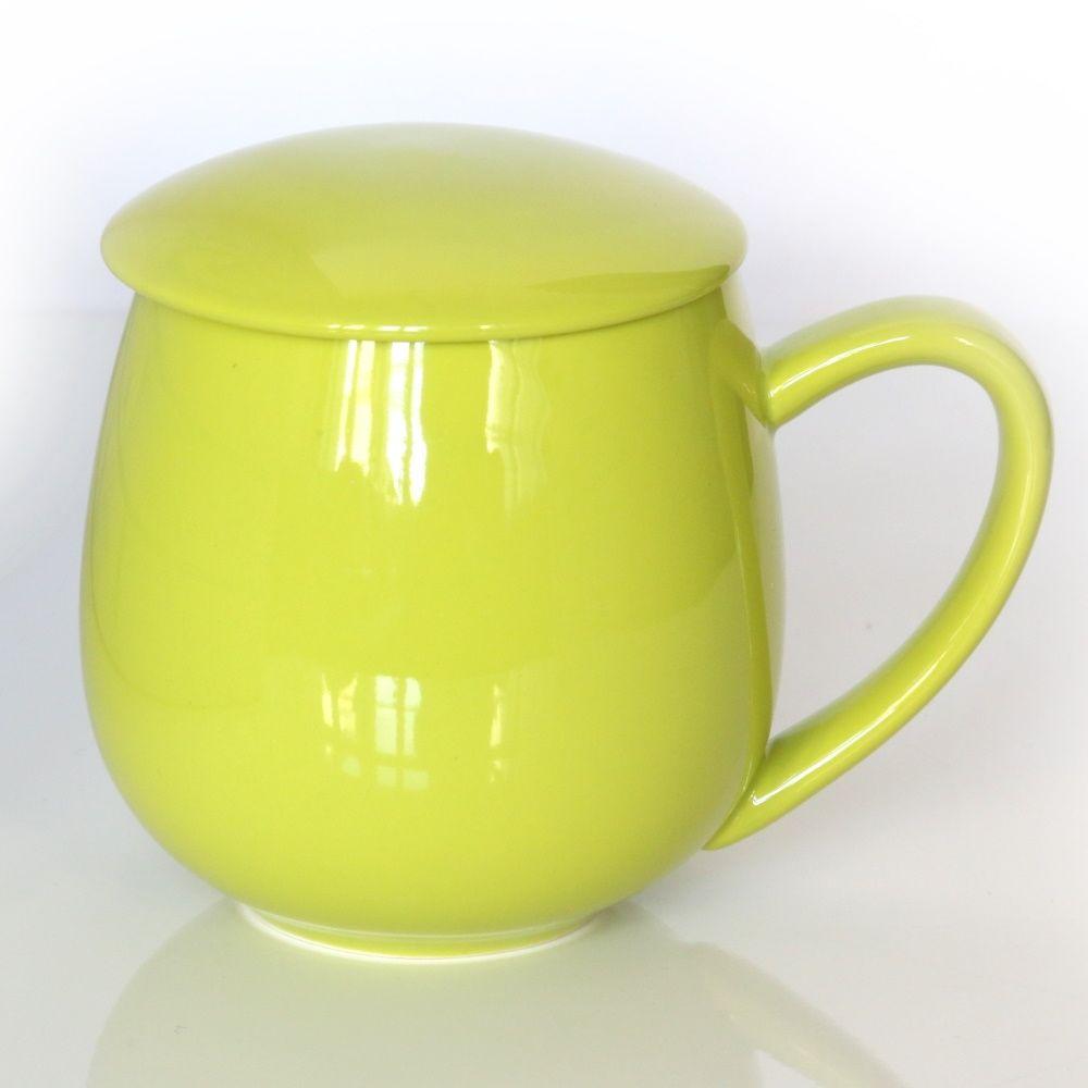 Kubek z zaparzaczem i pokrywką limonkowy  idealny zestaw do przygotowania herbaty, perfekcyjny podarunek prezent dla mamy, taty, babci, dziadka