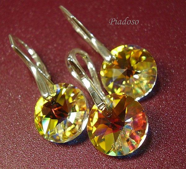 Kryształy piękny komplet SREBRO kryształy AB