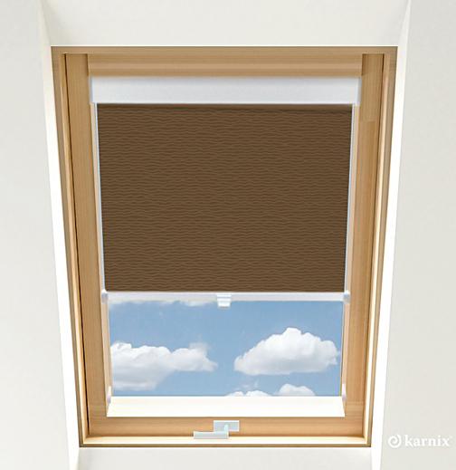 Rolety do okien dachowych - BASMATI - Orzech / Biały