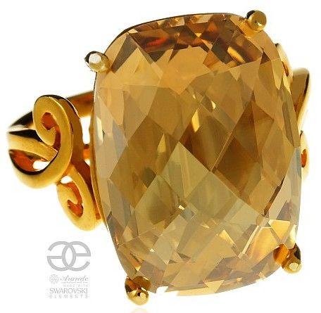 SWAROVSKI pierścionek GOLDEN ZŁOTE SREBRO