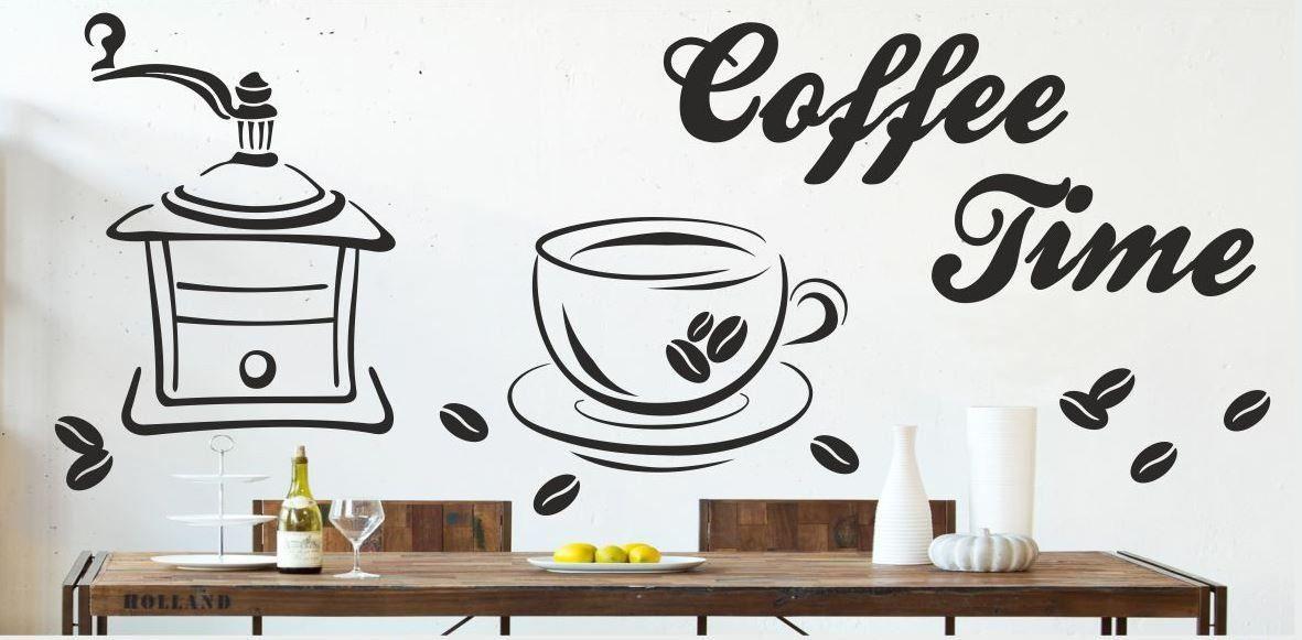 Naklejka z młynkiem filiżanką i napis coffee time