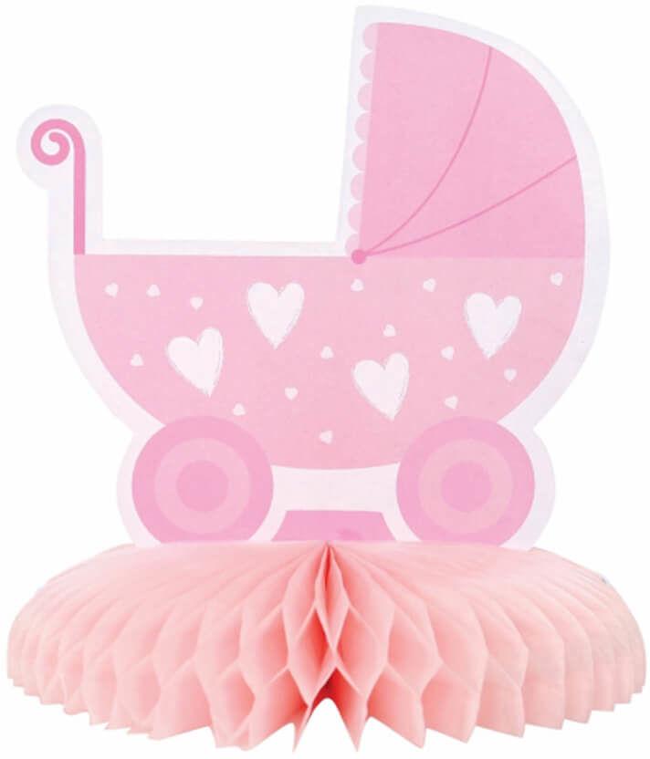 Dekoracja stołu Wózek różowy Baby Girl - 16 cm - 1 szt.