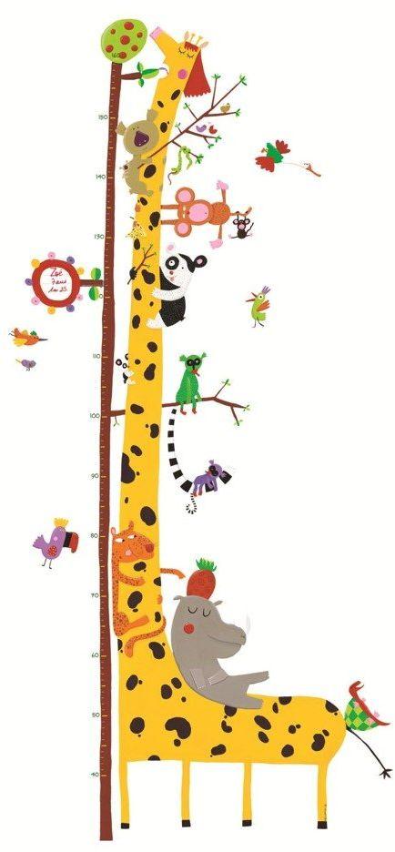 Kolorowa naklejka na ścianę miarka wzrostu Djeco