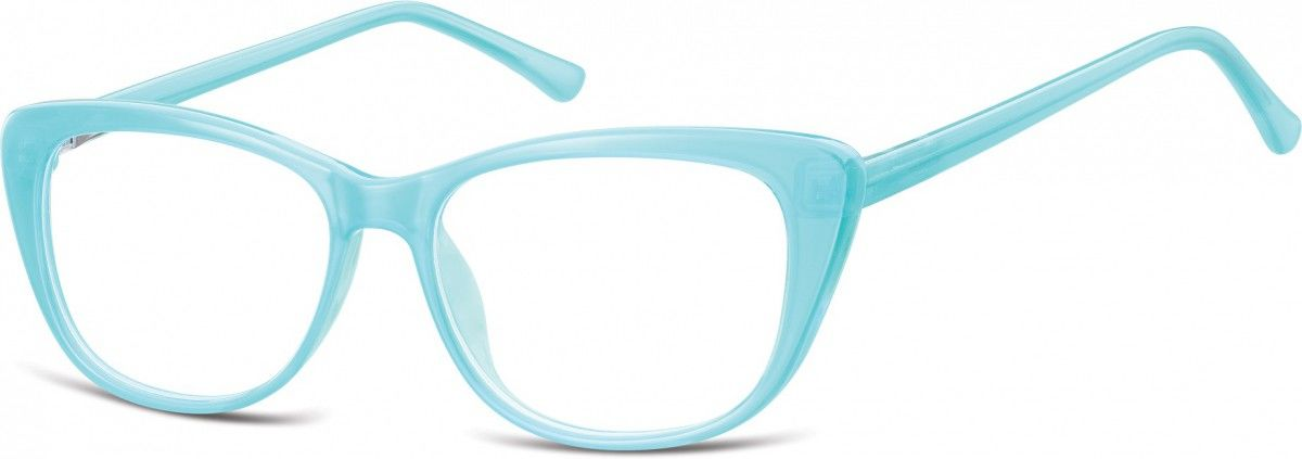 Okulary oprawki korekcyjne Kocie Oczy zerówki Sunoptic CP129 błękit turkusowy