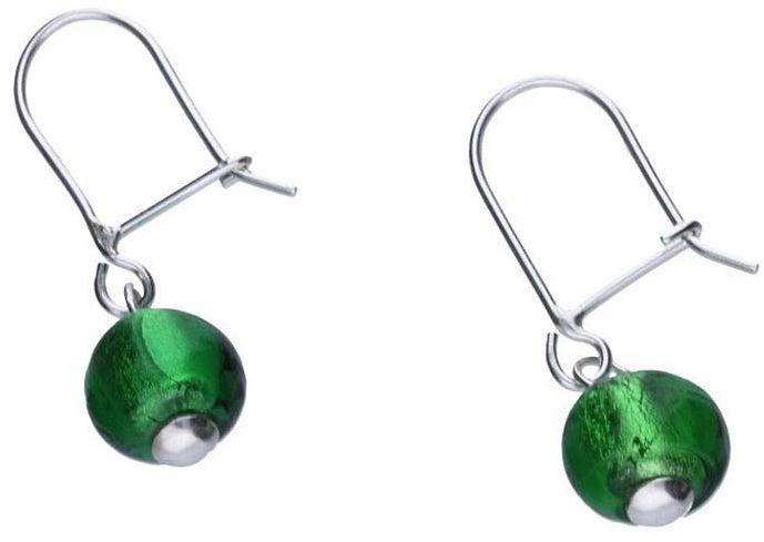 Srebrne kolczyki 925 zielone kuleczki 1,84g