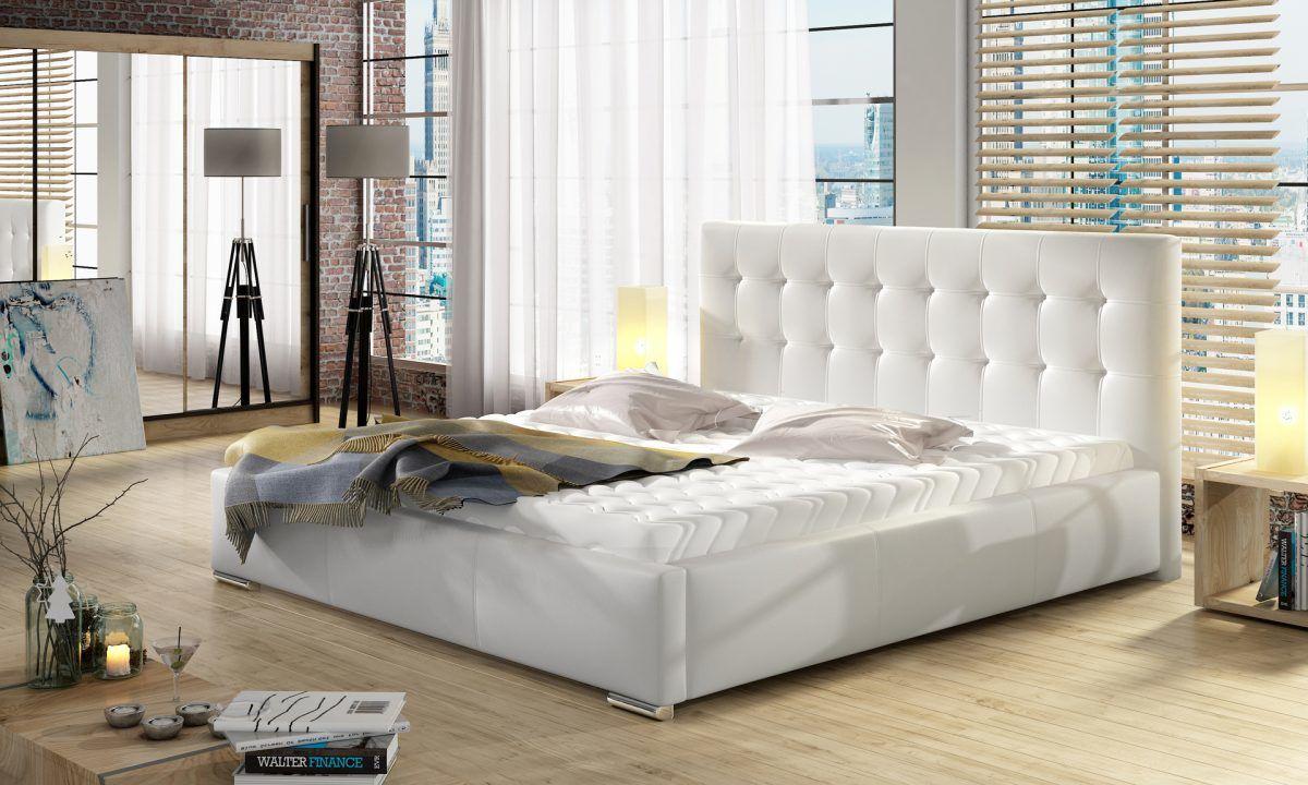 Łóżko DOLORES pod materac 140x200 z pojemnikiem na pościel + materac kieszeniowy PASSION + stelaż