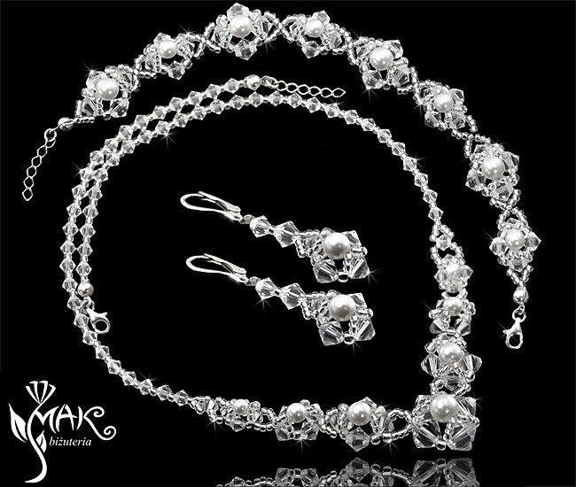 KPL313 KOMPLET Z KRYSZTAŁÓW SWAROVSKI ELEMENTS biżuteria ślubna, biżuteria na ślub