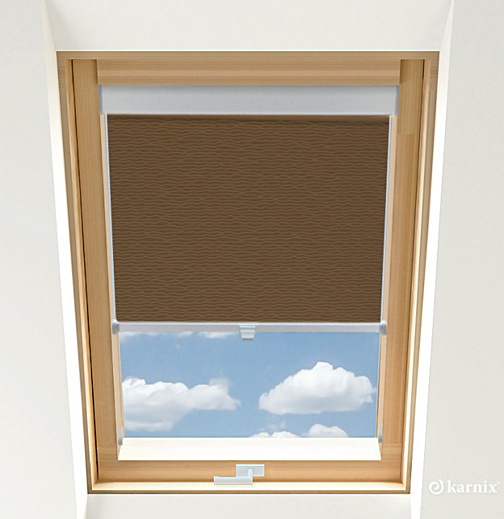 Rolety do okien dachowych BASIC BASMATI - Orzech / Srebrny
