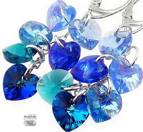 Kryształy Długie Kolczyki Niebieskie Serca Srebro