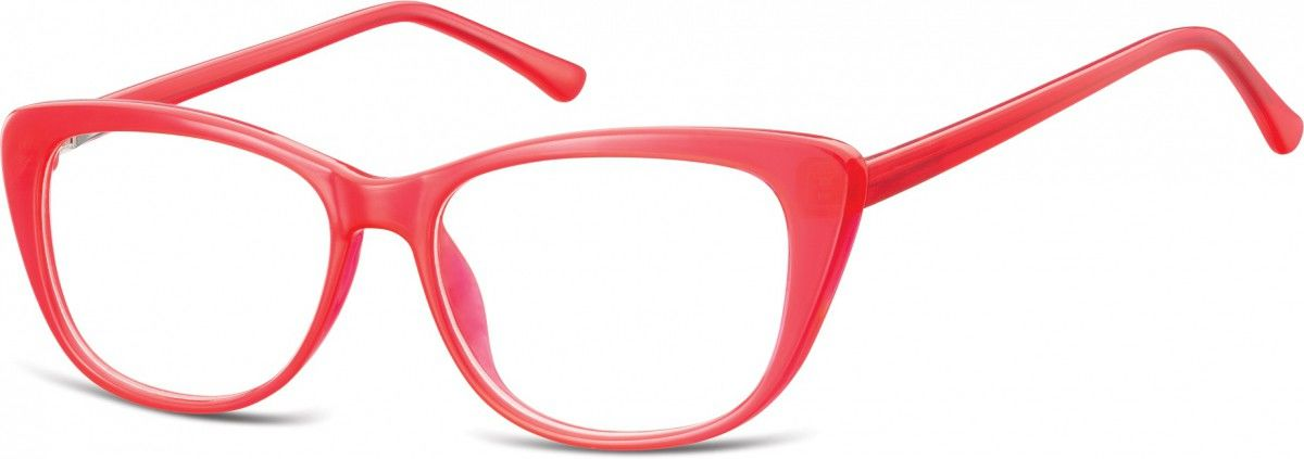 Okulary oprawki korekcyjne Kocie Oczy zerówki Sunoptic CP129A malinowe
