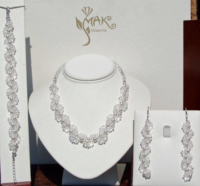 KPL286 KOMPLET Z KRYSZTAŁÓW SWAROVSKI ELEMENTS, biżuteria ślubna, biżuteria na ślub