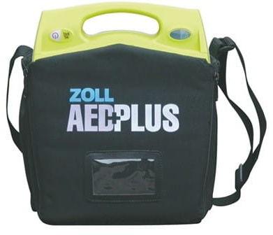 Defibrylator Zoll AED Plus z torbą transportową, bateriami, elektrodą CPR-D i szafką metalową