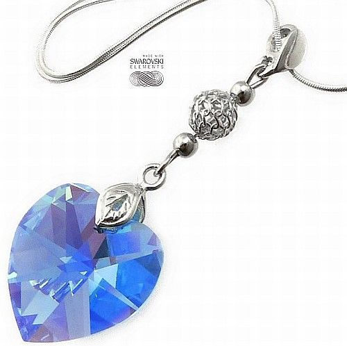Piękny Naszyjnik Swarovski Sapphire Heart Srebro
