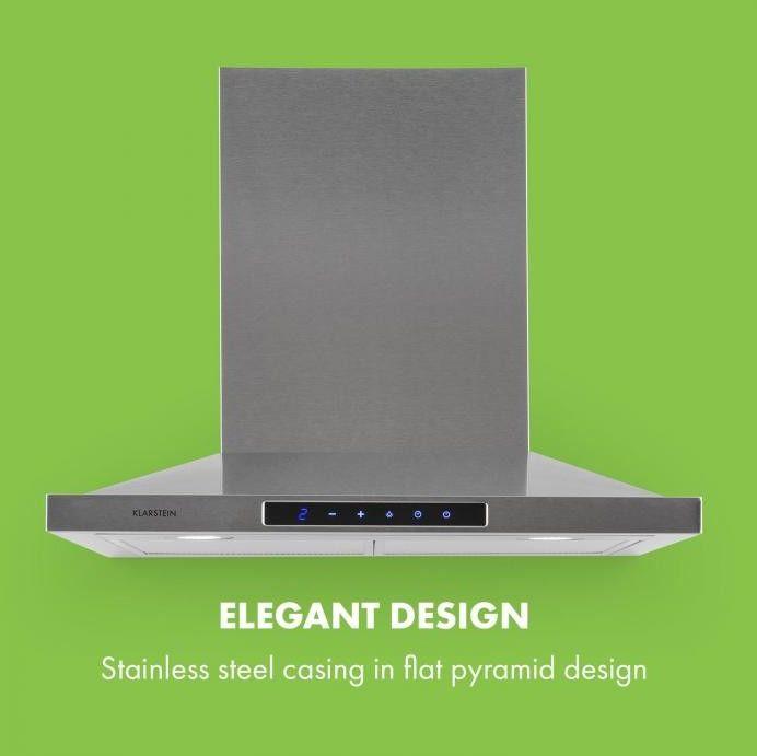 Klarstein Eliana, okap kuchenny, 60 cm, kształt piramidy, 620m3/h, stal szlachetna