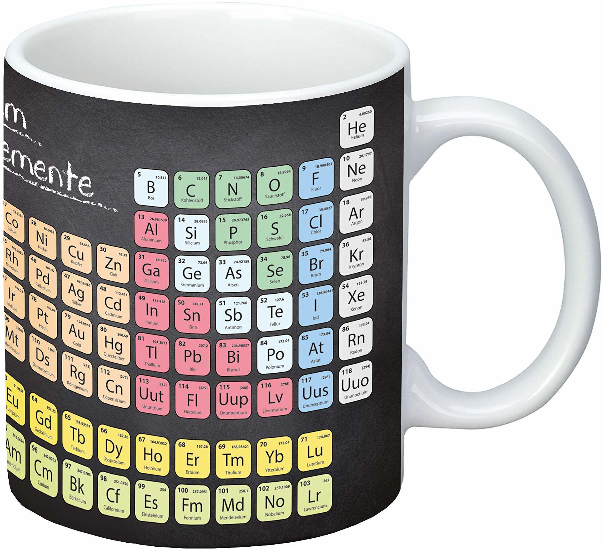 infinite by GEDA LABELS (INFKH) 12160 Periodensystem filiżanka, porcelanowa filiżanka, filiżanka do kawy, filiżanka dla dzieci, wielokolorowa
