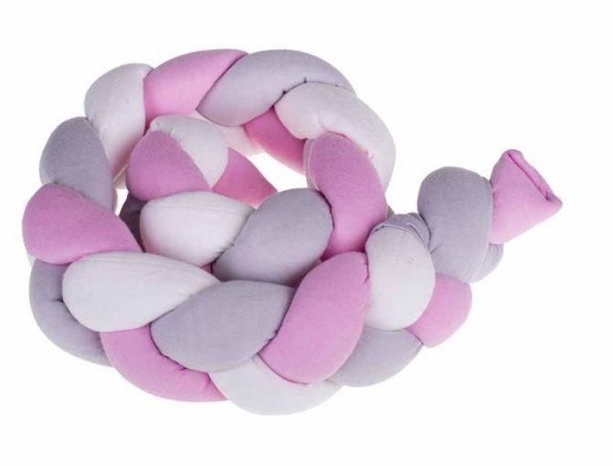 Ochraniacz otulacz do łóżeczka warkocz różowy/szary/biały 7x100cm