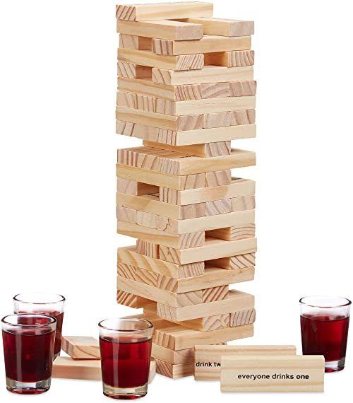 """Relaxdays Wieża ruchoma gra """"Drunken Tower"""", drewniana wieża 60 kamieni, 4 kieliszki do wódki, gra imprezowa dla dorosłych, kolor naturalny"""