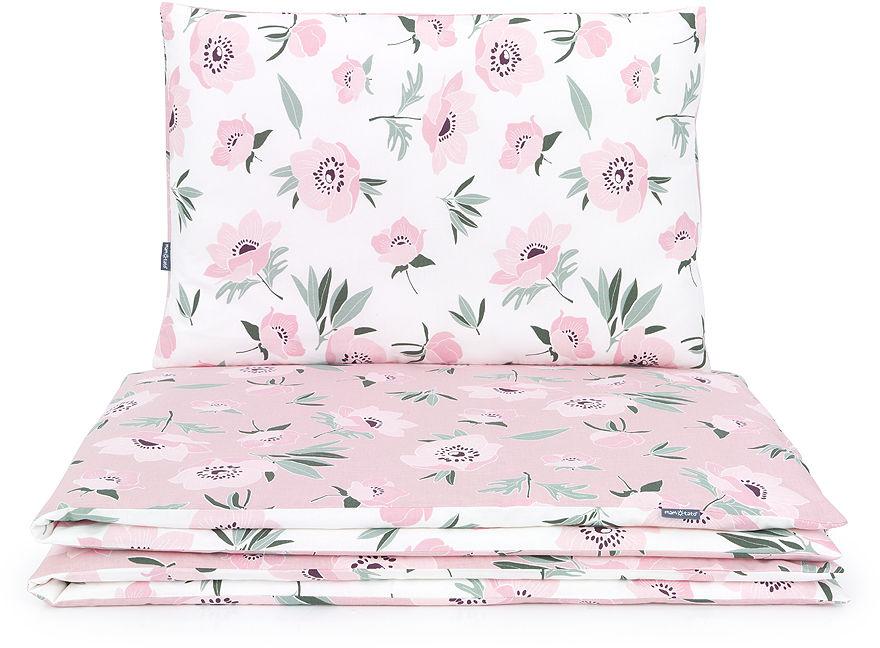 MAMO-TATO 2-el pościel dla niemowląt 100x135 - Premium - Kwiaty na ecru / kwiaty na różanym