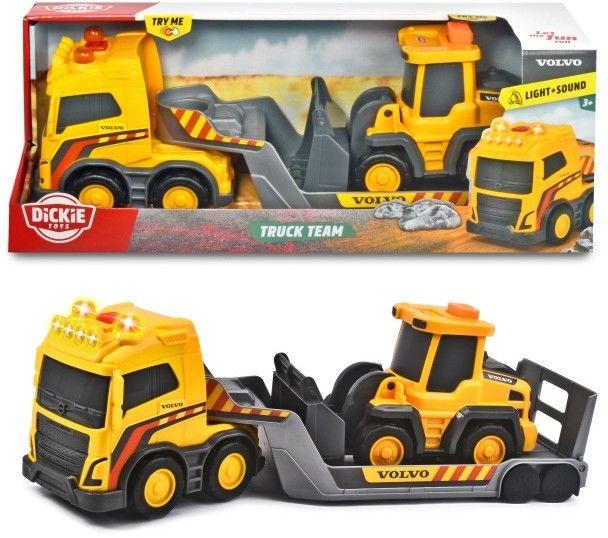 DICKIE Samochód Laweta ze Spychaczem Construction Volvo Truck Team 32cm