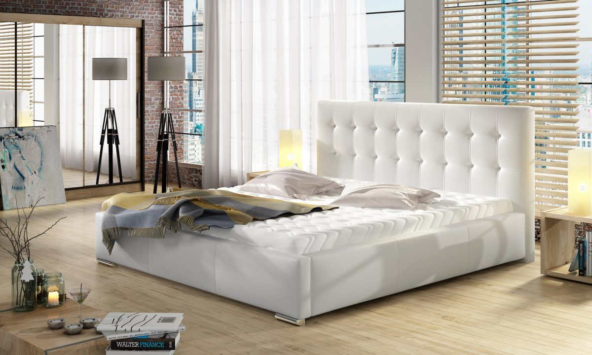 Łóżko DOLORES pod materac 140x200 z pojemnikiem na pościel + wysoki materac kieszeniowy SOGNATO + stelaż