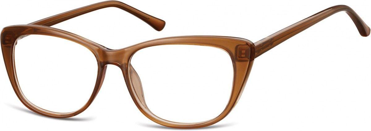Okulary oprawki korekcyjne Kocie Oczy zerówki Sunoptic CP129E brązowe