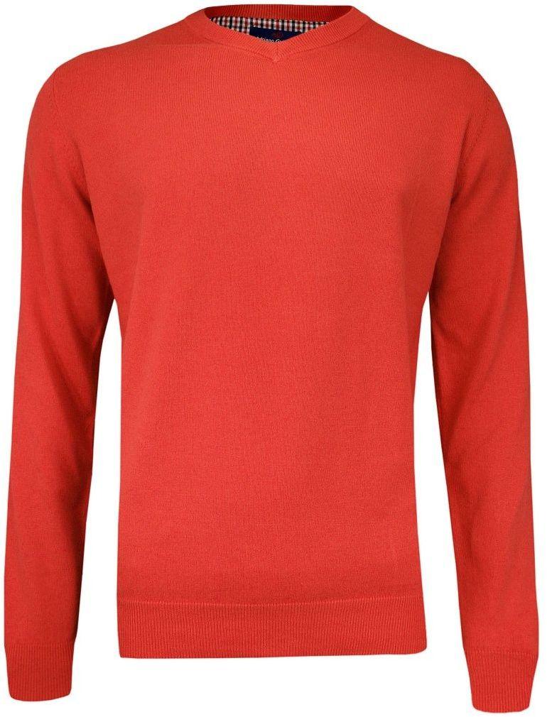Sweter Pomarańczowy w Serek (V-neck) Klasyczny, Męski, Orange, - Adriano Guinari SWADGAW19paprika