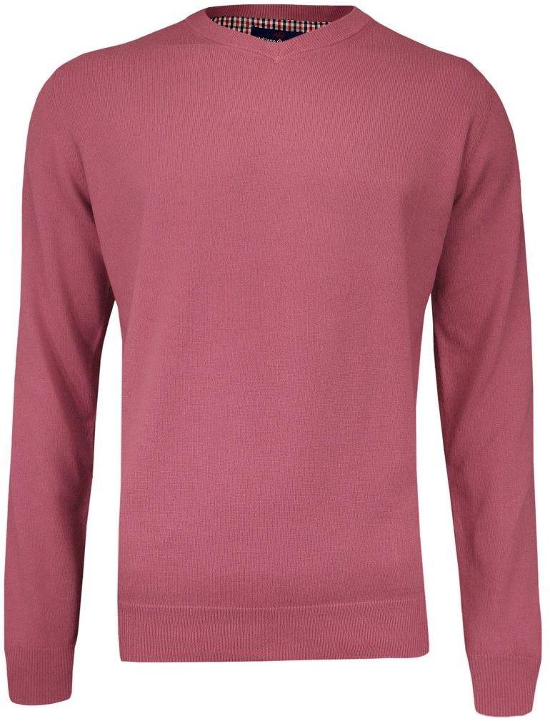 Sweter Różowy, Łososiowy w Serek (V-neck) Klasyczny, Męski - Adriano Guinari SWADGAW19mesarose