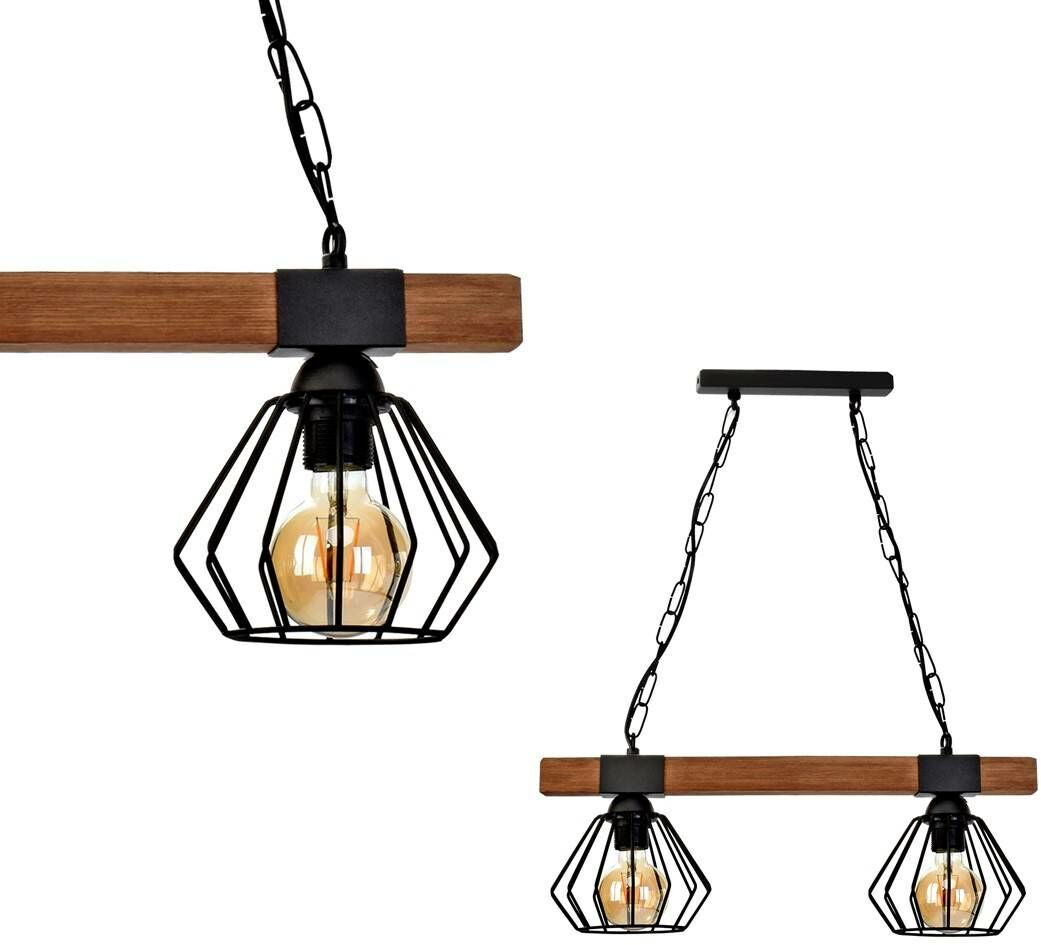 Lampa wisząca ULF BLACK / WOOD 2xE27 60W