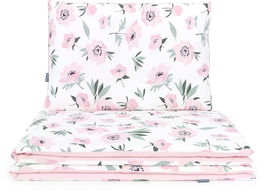 MAMO-TATO 2-el pościel dla niemowląt 100x135 - Premium - Kwiaty na ecru / różany