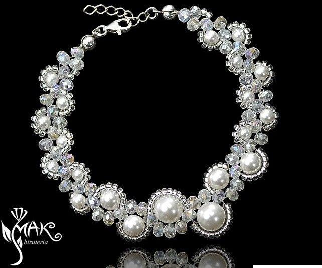 MAK-Biżuteria KPL424 cab KOMPLET KRZYSZTAŁY, PEREŁKI Swarovski, biżuteria ślubna