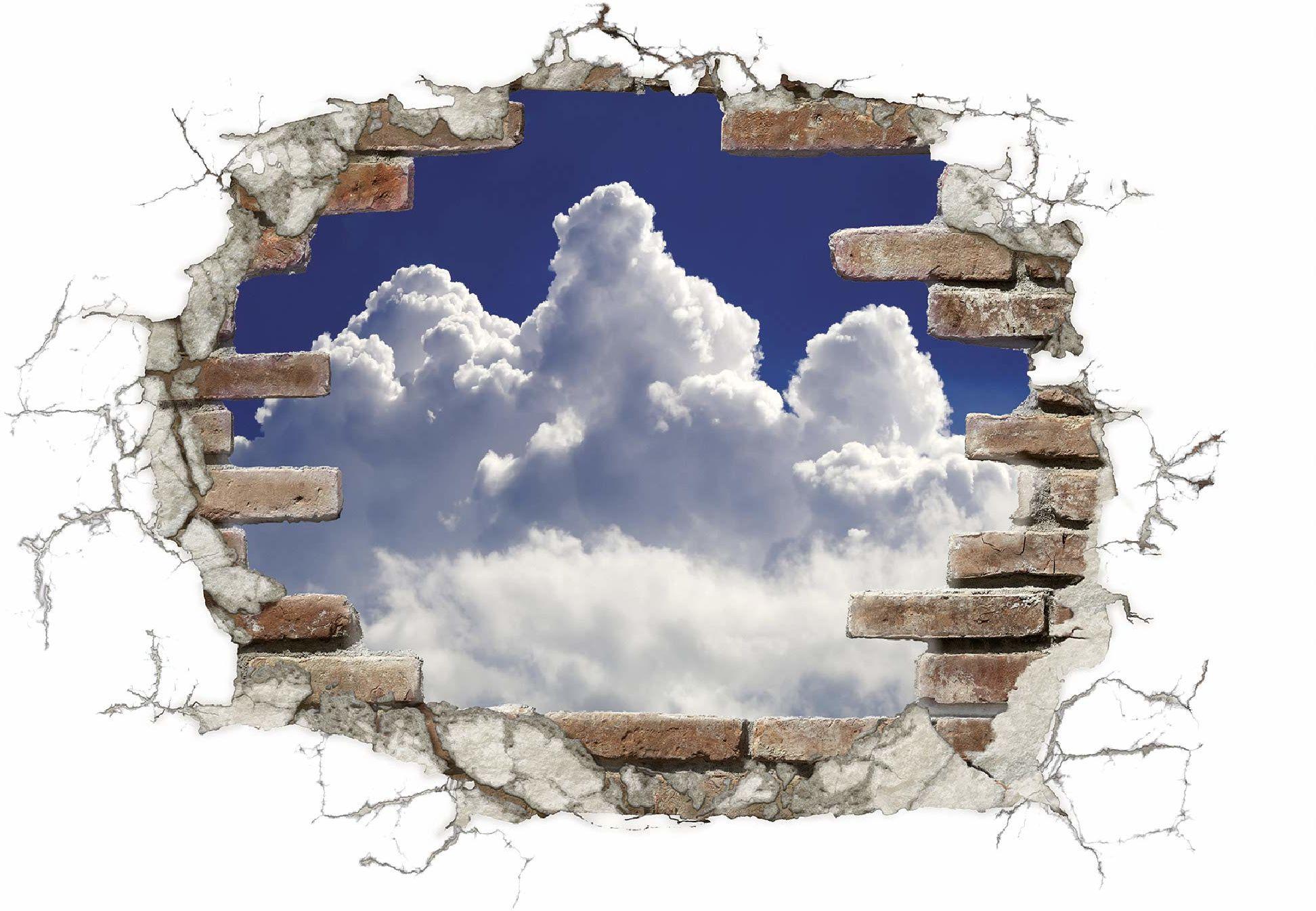 Komar Naklejki deco Break Out Clouds Rozmiar: 100 x 70 cm (szerokość x wysokość) tatuaż ścienny, ściana, dekoracja, naklejka, naklejka, przebicie muru 17724h