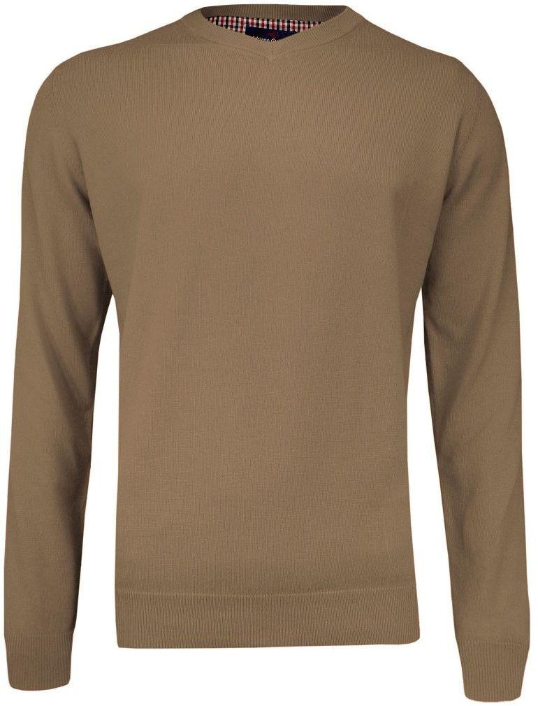Sweter Beżowy w Serek (V-neck) Klasyczny, Męski, Sepia, Jednokolorowy - Adriano Guinari SWADGAW19caribon